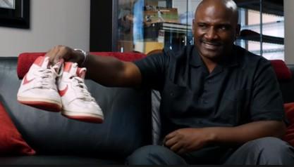 Khalid Ali with Jordan's Rookie Shoes